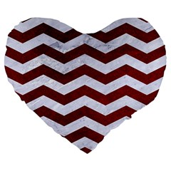 Chevron3 White Marble & Red Grunge Large 19  Premium Heart Shape Cushions by trendistuff