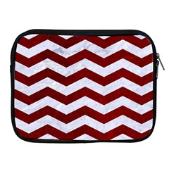 Chevron3 White Marble & Red Grunge Apple Ipad 2/3/4 Zipper Cases by trendistuff