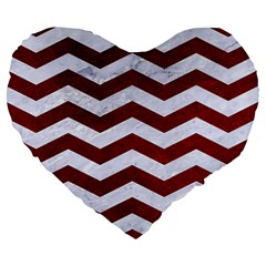 Chevron3 White Marble & Red Grunge Large 19  Premium Flano Heart Shape Cushions by trendistuff