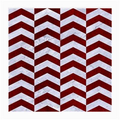 Chevron2 White Marble & Red Grunge Medium Glasses Cloth