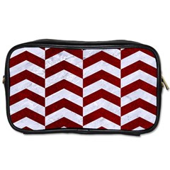 Chevron2 White Marble & Red Grunge Toiletries Bags 2 Side by trendistuff