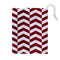 Chevron2 White Marble & Red Grunge Drawstring Pouches (extra Large) by trendistuff