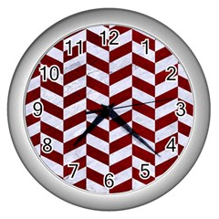 Chevron1 White Marble & Red Grunge Wall Clocks (silver)  by trendistuff