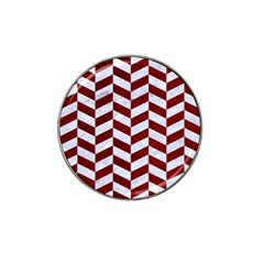 Chevron1 White Marble & Red Grunge Hat Clip Ball Marker (10 Pack) by trendistuff