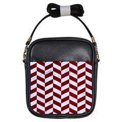 Chevron1 White Marble & Red Grunge Girls Sling Bags by trendistuff