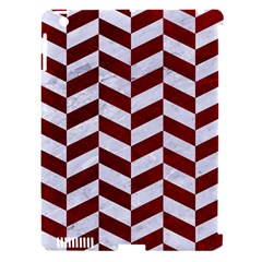 Chevron1 White Marble & Red Grunge Apple Ipad 3/4 Hardshell Case (compatible With Smart Cover) by trendistuff