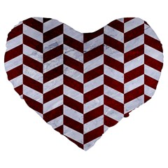 Chevron1 White Marble & Red Grunge Large 19  Premium Flano Heart Shape Cushions by trendistuff