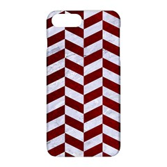 Chevron1 White Marble & Red Grunge Apple Iphone 8 Plus Hardshell Case by trendistuff