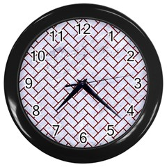 Brick2 White Marble & Red Grunge (r) Wall Clocks (black) by trendistuff
