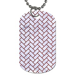 Brick2 White Marble & Red Grunge (r) Dog Tag (two Sides)