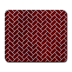 Brick2 White Marble & Red Grunge Large Mousepads