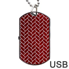 Brick2 White Marble & Red Grunge Dog Tag Usb Flash (one Side) by trendistuff