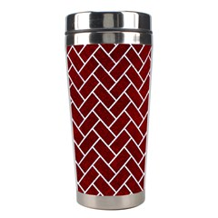 Brick2 White Marble & Red Grunge Stainless Steel Travel Tumblers by trendistuff