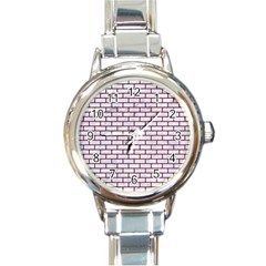 Brick1 White Marble & Red Grunge (r) Round Italian Charm Watch