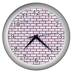 Brick1 White Marble & Red Grunge (r) Wall Clocks (silver)  by trendistuff