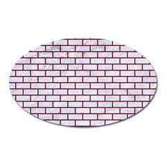 Brick1 White Marble & Red Grunge (r) Oval Magnet by trendistuff
