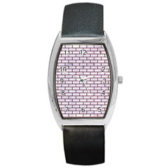 Brick1 White Marble & Red Grunge (r) Barrel Style Metal Watch