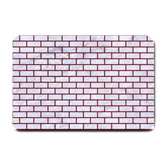 Brick1 White Marble & Red Grunge (r) Small Doormat  by trendistuff