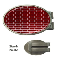 Brick1 White Marble & Red Grunge Money Clips (oval)  by trendistuff