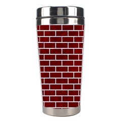 Brick1 White Marble & Red Grunge Stainless Steel Travel Tumblers by trendistuff