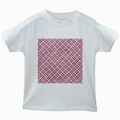 Woven2 White Marble & Red Glitter (r) Kids White T Shirts by trendistuff