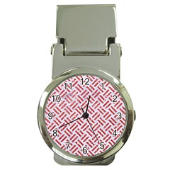 Woven2 White Marble & Red Glitter (r) Money Clip Watches by trendistuff