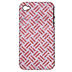 Woven2 White Marble & Red Glitter (r) Apple Iphone 4/4s Hardshell Case (pc+silicone) by trendistuff