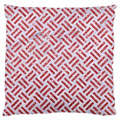 Woven2 White Marble & Red Glitter (r) Large Flano Cushion Case (one Side) by trendistuff