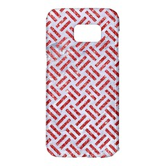 Woven2 White Marble & Red Glitter (r) Samsung Galaxy S7 Edge Hardshell Case