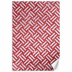 Woven2 White Marble & Red Glitter Canvas 12  X 18   by trendistuff