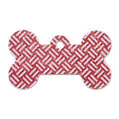 Woven2 White Marble & Red Glitter Dog Tag Bone (one Side) by trendistuff