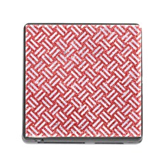 Woven2 White Marble & Red Glitter Memory Card Reader (square) by trendistuff