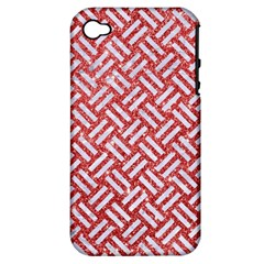 Woven2 White Marble & Red Glitter Apple Iphone 4/4s Hardshell Case (pc+silicone) by trendistuff