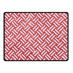 Woven2 White Marble & Red Glitter Double Sided Fleece Blanket (small)