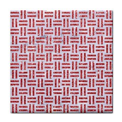 Woven1 White Marble & Red Glitter (r) Tile Coasters by trendistuff