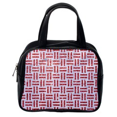 Woven1 White Marble & Red Glitter (r) Classic Handbags (one Side) by trendistuff