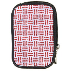 Woven1 White Marble & Red Glitter (r) Compact Camera Cases by trendistuff