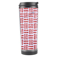 Woven1 White Marble & Red Glitter (r) Travel Tumbler by trendistuff