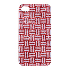 Woven1 White Marble & Red Glitter Apple Iphone 4/4s Hardshell Case by trendistuff
