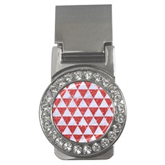 Triangle3 White Marble & Red Glitter Money Clips (cz)