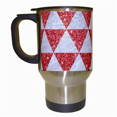 Triangle3 White Marble & Red Glitter Travel Mugs (white) by trendistuff