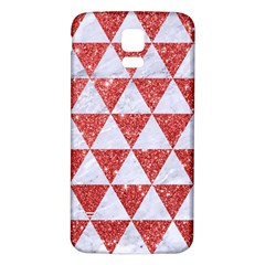 Triangle3 White Marble & Red Glitter Samsung Galaxy S5 Back Case (white) by trendistuff