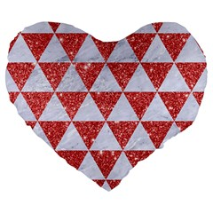 Triangle3 White Marble & Red Glitter Large 19  Premium Flano Heart Shape Cushions by trendistuff