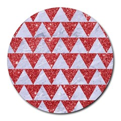 Triangle2 White Marble & Red Glitter Round Mousepads by trendistuff