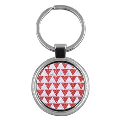 Triangle2 White Marble & Red Glitter Key Chains (round)  by trendistuff