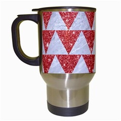Triangle2 White Marble & Red Glitter Travel Mugs (white) by trendistuff