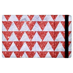 Triangle2 White Marble & Red Glitter Apple Ipad 2 Flip Case by trendistuff