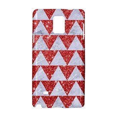 Triangle2 White Marble & Red Glitter Samsung Galaxy Note 4 Hardshell Case by trendistuff