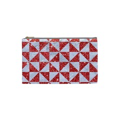 Triangle1 White Marble & Red Glitter Cosmetic Bag (small)  by trendistuff