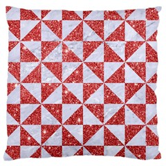 Triangle1 White Marble & Red Glitter Large Cushion Case (two Sides) by trendistuff